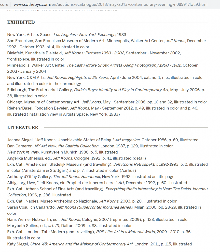 Screenshot of Sotheby's online exhibition history and literature references for Jeff Koons's photograph 'The New Jeff Koons'.