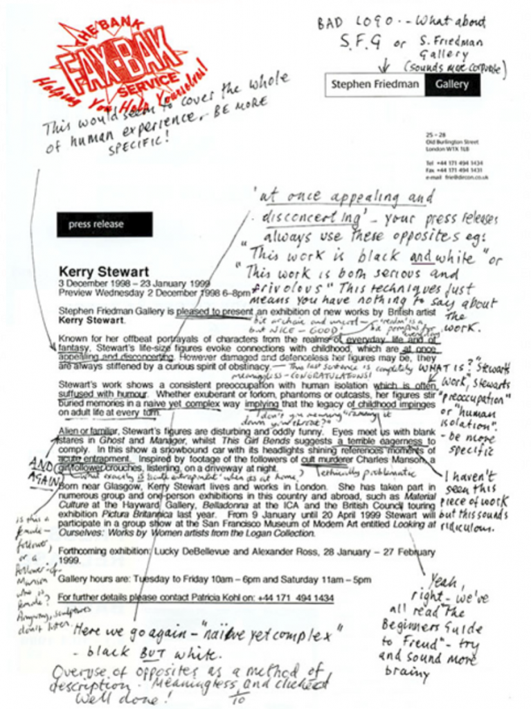 An image of THE BANK's 'Fax-Bak' press release from 1998, which rewrote an art gallery press release using International Art English.