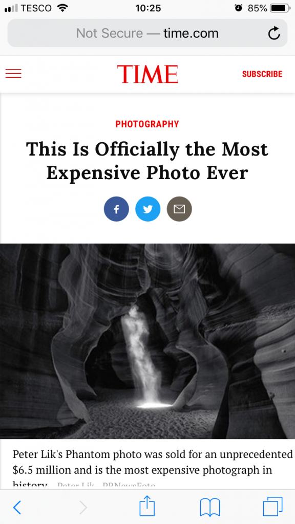 Screenshot of Time Magazine online article about 'Phantom' breaking the record for most expensive photograph sold.