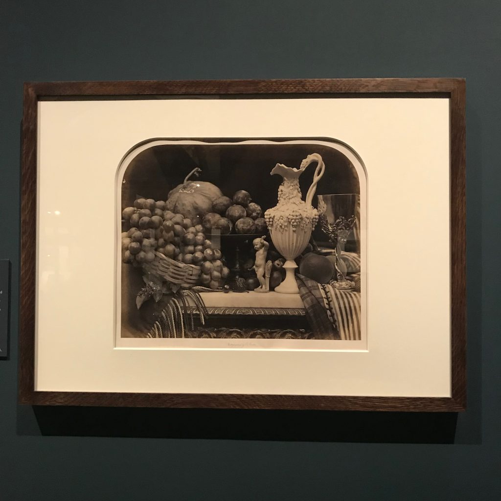 Photograph taken by the author of Roger Fenton's print 'Parian Vase, Grapes, and Silver Cup' (1860) at the Victoria & Albert Museum.