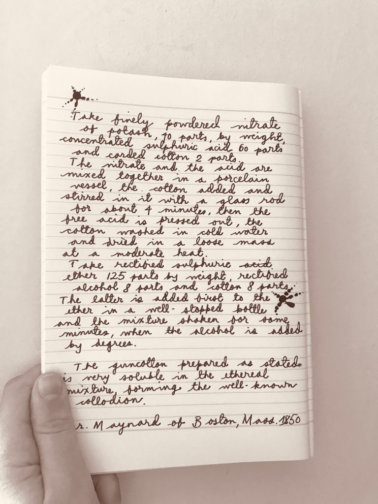 Photograph taken by the author of a handwritten recipe for collodion.